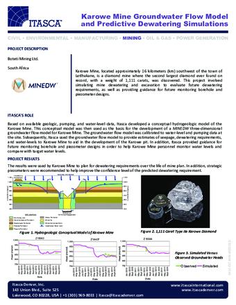 Karowe Mine Groundwater Flow Model and Predictive Dewatering